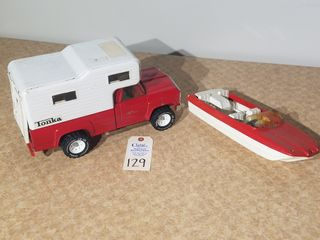 Tonka red truck with white camper