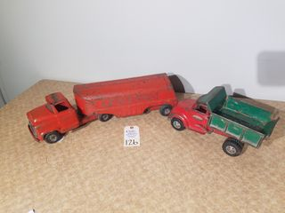 Buddy l semi tractor trailer Red Texaco  8