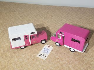 1970 mini Tonka camper and 1963 mini pink camper