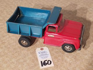 Tonka red dump truck with blue dump box