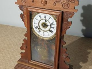 Vintage Ornate Walnut Kitchen Clock