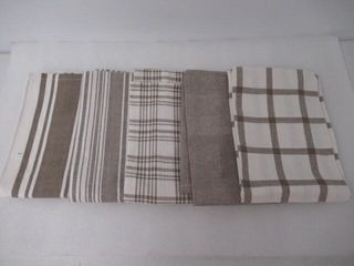 Home Kitchen Towels  Set of 5  Pewter   White
