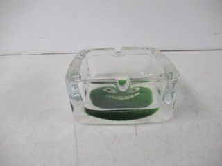 Glass Ash Tray With Fuzzy Green Character On Base