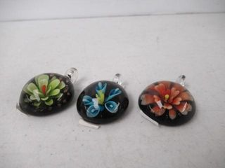 lot Of  3  Glass Pendants Tabs With Inner Designs