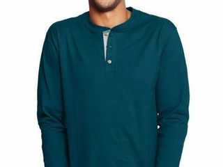 Hanes Men s large long Sleeve Beefy Henley T Shirt