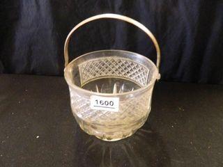 Patterned Glass Basket w Handle
