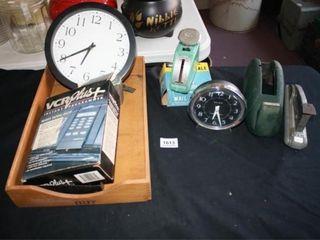 Desk Organization odds ends  Desk clock