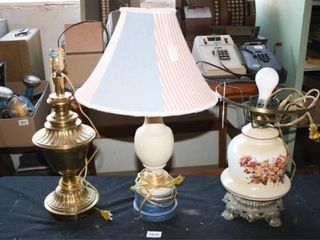 lamps Brass like  Painted  Glass w floral