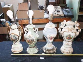 Ceramic lamps 3 have same decal  Floral