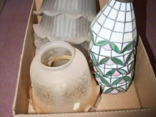 Glass lampshades 11 total  Various styles sizes