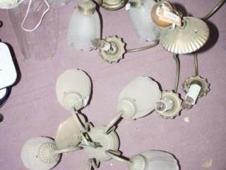 Chandeliers  2  w 5 globes  Wooden light fix