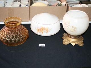 Vintage lighting items  2 Globes  Globe stand