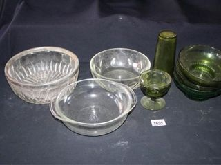 Glass Bowls clear and green