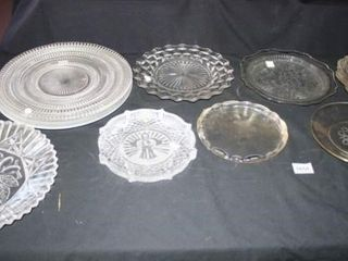 Glass Plates and Platters  Fostoria  Iris etc