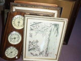 Group of Framed items and picture Frames