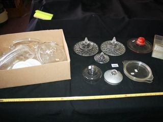 Group of Glass lids  various sizes   shapes 20
