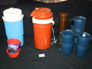 Plastic Thermos  2  and cups mugs