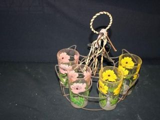 Glass Caddy with 4 Floral Drinking Glasses