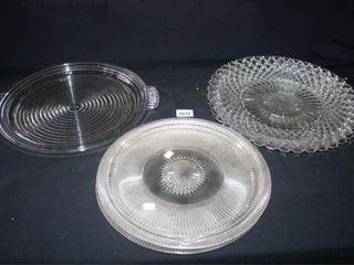 Glass Serving Platters  5  2 sets of 2  Handled