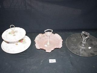 Candy Dishes with handles  2 tiered  Pink  Clear