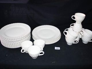 Creme Colored Plates with silver like trim