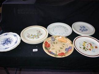 Various Patterns Dinner Plates 10 total