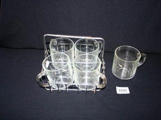 Glass Coffee mugs in caddy 5 mugs