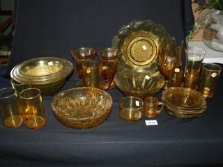 Amber Glassware  Various Patterns and items