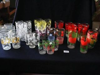 Vintage Drinking Glasses w printed patterns