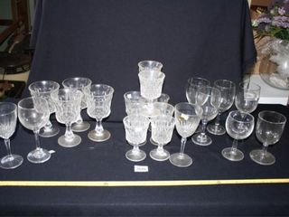 Wineglasses Goblets 21 total  Various Patterns
