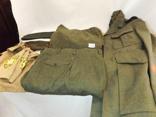 Green Military jacket  Pants  2  Hats  Shirt