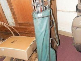 Green Golf Bag  Irons  Woods  approx 15