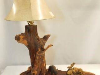 Carved Wood lamp Base  Wildlife Theme