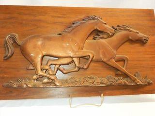 Wood Base  Copper look Horses Art