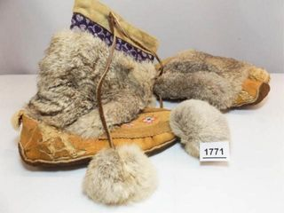Fur Moccasin Boots  Beaded Design