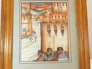 1985 Native American Style Framed Art