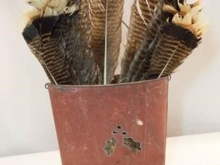 Metal Decor Bucket with Feathers