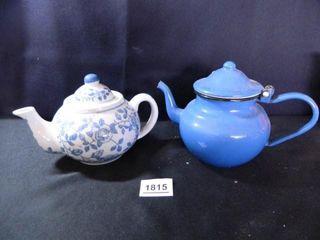 Teapots 2  Solid Blue Enamelware