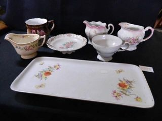 China Creamers  Cups  Tray