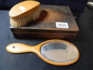 Wooden Box w Mirror  Brush