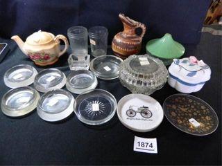 Glass Assortment  Vanity Dish w lid