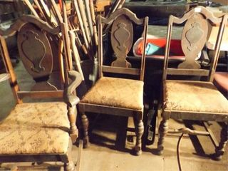 Wood Chairs  3 Matching  one with Arms