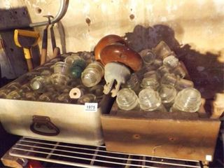 Glass Insulators   2 Boxes   mostly clear