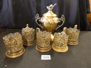 Gold tone Container w lid