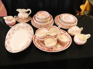 Burgundy and White Dishes