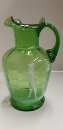 Mary Gregory Style Glass Pitcher