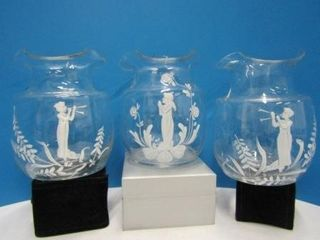 Mary Gregory Style Glass Vases