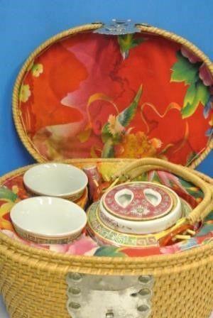 Chinese Tea Set in Wicker Case
