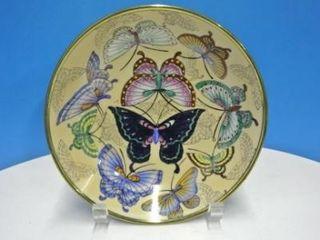 Hand Painted Butterflies Bowl w  Brass Back