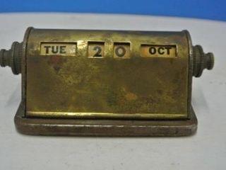 Vintage Brass Desk Calendar